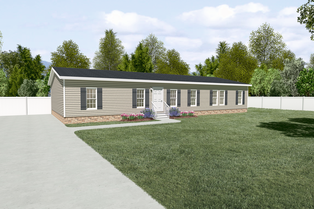 The FRONTIER Exterior. This Manufactured Mobile Home features 3 bedrooms and 2 baths.
